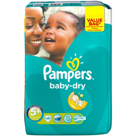 48 Couches Pampers Baby Dry Taille 5 à Petit Prix Sur Couches Poupon