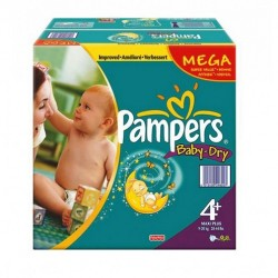 Baby Dry - 328 Couches Pampers taille 4+ sur Couches Poupon