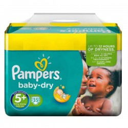 Baby Dry - 35 Couches Pampers taille 5+ sur Couches Poupon
