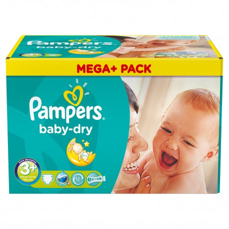 Baby Dry - 328 Couches de Pampers taille 3+ sur Couches Poupon
