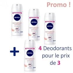 Sensation Satinée - 4 Deodorants Nivea - 4 au prix de 3 taille Pocket sur Couches Poupon