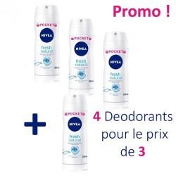 Fresh Natural - 4 Deodorants Nivea - 4 au prix de 3 taille Pocket sur Couches Poupon