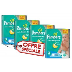 Active Baby Dry - 660 Couches de Pampers taille 3 sur Couches Poupon
