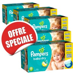 Baby Dry - 627 Couches de Pampers taille 6 sur Couches Poupon