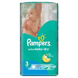 Active Baby Dry - 74 Couches de Pampers taille 3 sur Couches Poupon