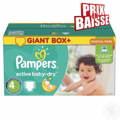 Active Baby Dry - 348 Couches Pampers taille 4 sur Couches Poupon