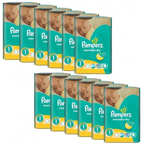 New Baby Dry - 860 Couches Pampers taille 1 sur Couches Poupon