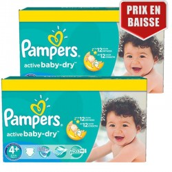 162 Couches Pampers Active Baby Dry taille 4+ sur Couches Poupon