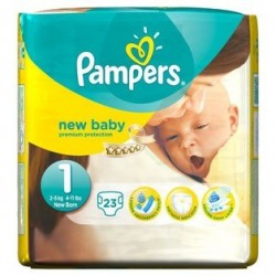 Pampers - 23 Couches New Baby taille 1 sur Couches Poupon