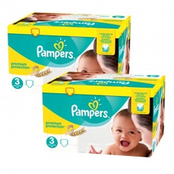 Pampers - Maxi Mega Pack 400 Couches Premium Protection - New Baby taille 3 sur Couches Poupon