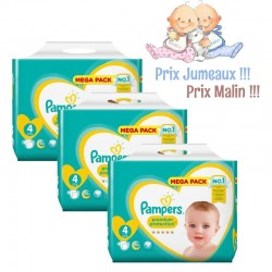 Pampers - Giga Pack Jumeaux 468 Couches New Baby - Premium Protection taille 4 sur Couches Poupon