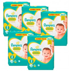 Pampers - Maxi Giga Pack 340 Couches New Baby - Premium Protection taille 2 sur Couches Poupon