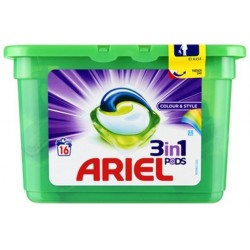 Ariel Pods 16 Colour & Style 3in1 (432 gr) sur Couches Poupon