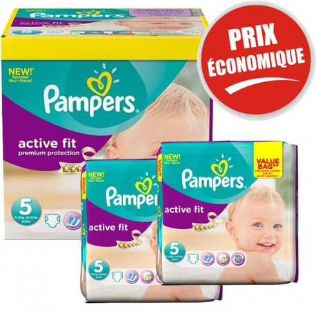 Pack Jumeaux 376 couches Pampers Active Fit sur Couches Poupon