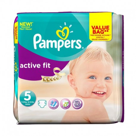 Pampers - Pack 47 Couches Active Fit taille 5 sur Couches Poupon