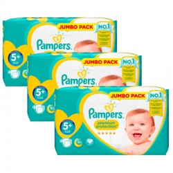 Pampers - Maxi Giga Pack 135 Couches New Baby - Premium Protection taille 5+ sur Couches Poupon