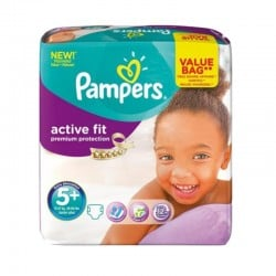 Pack 32 couches Pampers Active Fit Premium Protection sur Couches Poupon