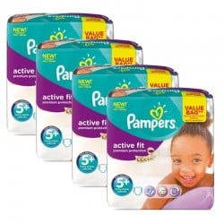 Pampers - Maxi Pack 128 Couches Active Fit - Premium Protection taille 5+ sur Couches Poupon