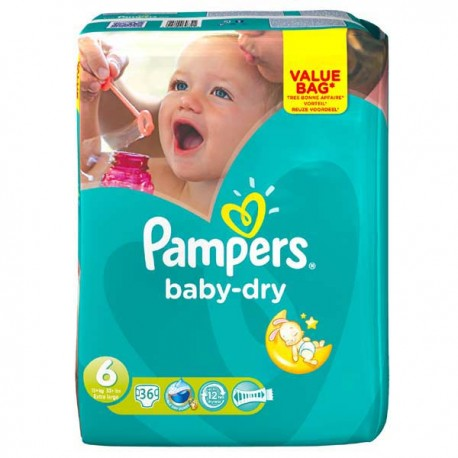 36 couches pampers baby dry taille 6 petit prix sur couches poupon - Prix couche pampers allemagne ...