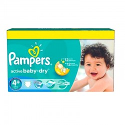 Pampers - Pack 96 Couches Active Baby Dry taille 4+ sur Couches Poupon