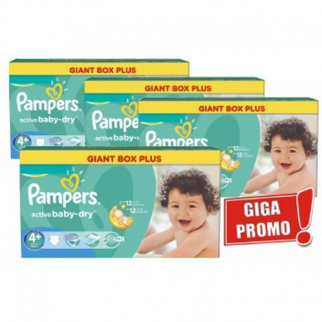 Pampers - Maxi Pack 576 Couches Active Baby Dry taille 4+ sur Couches Poupon