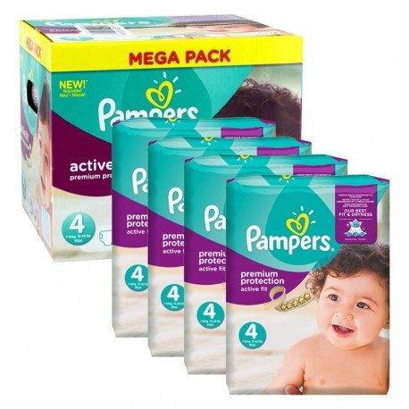 Pampers - Maxi Pack 504 Couches Active Fit - Premium Protection taille 4 sur Couches Poupon
