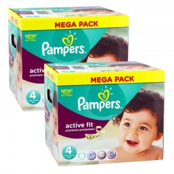 Pampers - Maxi Pack 840 Couches Active Fit - Premium Protection taille 4 sur Couches Poupon