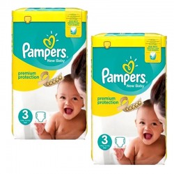 Pack 100 couches Pampers New Baby Premium Protection sur Couches Poupon