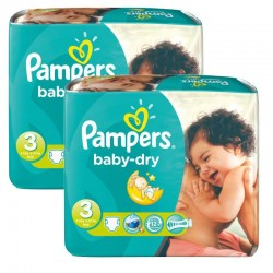 Pack 102 couches Pampers Baby Dry sur Couches Poupon