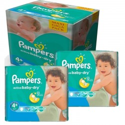 Pampers - Mega Pack 280 Couches Active Baby Dry taille 4+ sur Couches Poupon