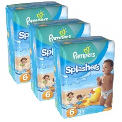 Pampers - Mega Pack 63 Couches Swimming Pants Splachers sur Couches Poupon