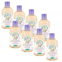 Pack de 8 Gels Douche Shampoing Bio Pour Bébé à la Mandarine sur Couches Poupon