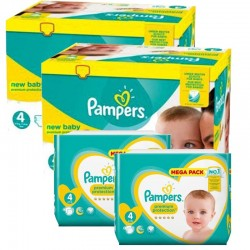 Pack Jumeaux 574 couches Pampers New Baby Premium Protection sur Couches Poupon