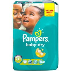 Pampers - Pack 56 Couches Baby Dry taille 5+ sur Couches Poupon