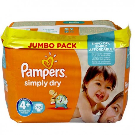 70 Couches Pampers Simply Dry Taille 4 A Petit Prix Sur Couches Poupon